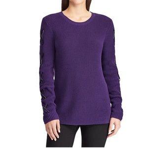 NWT Lauren Ralph Lauren Purple Lace Up Sweater